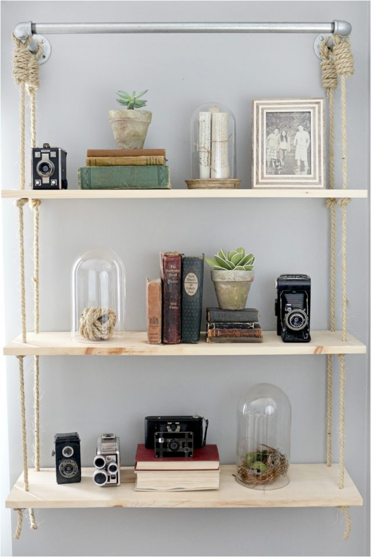 Rope, Wood and Pipe Hanging Shelves