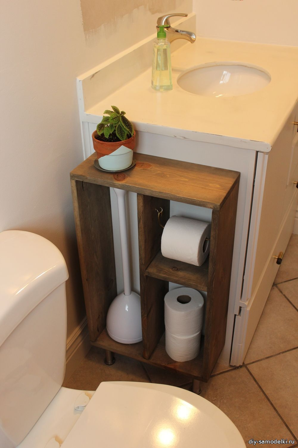 Wooden Toilet Paper Holder And Storage