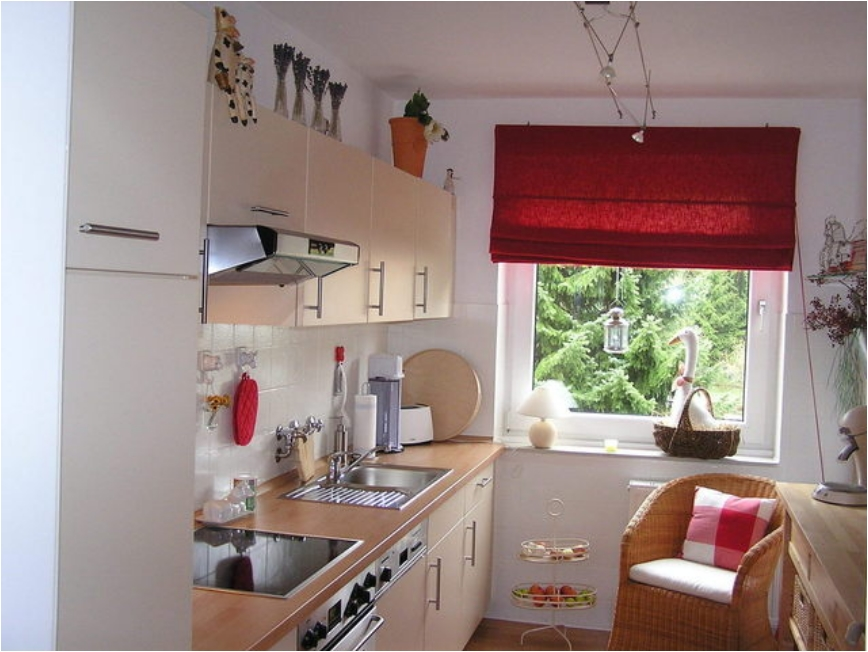 Cozy Light Kitchen With Window And Red Shades Part 92