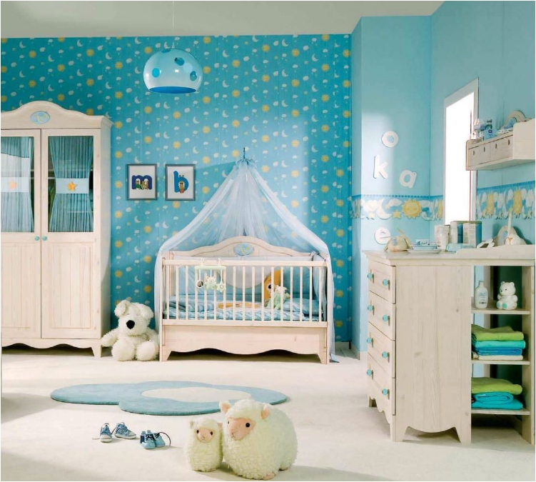 Baby Boy White Canopy Crib