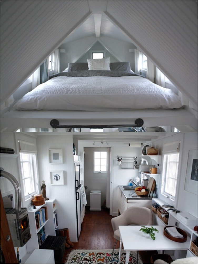 bed suspended near the roof