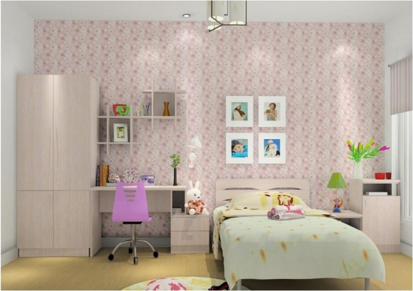 Small Cream Colored Bedroom with Colorful Pink Wallpaper  36 Awesome Teen  Girl Bedroom Designs. Awesome Teen Girl Bedroom Designs