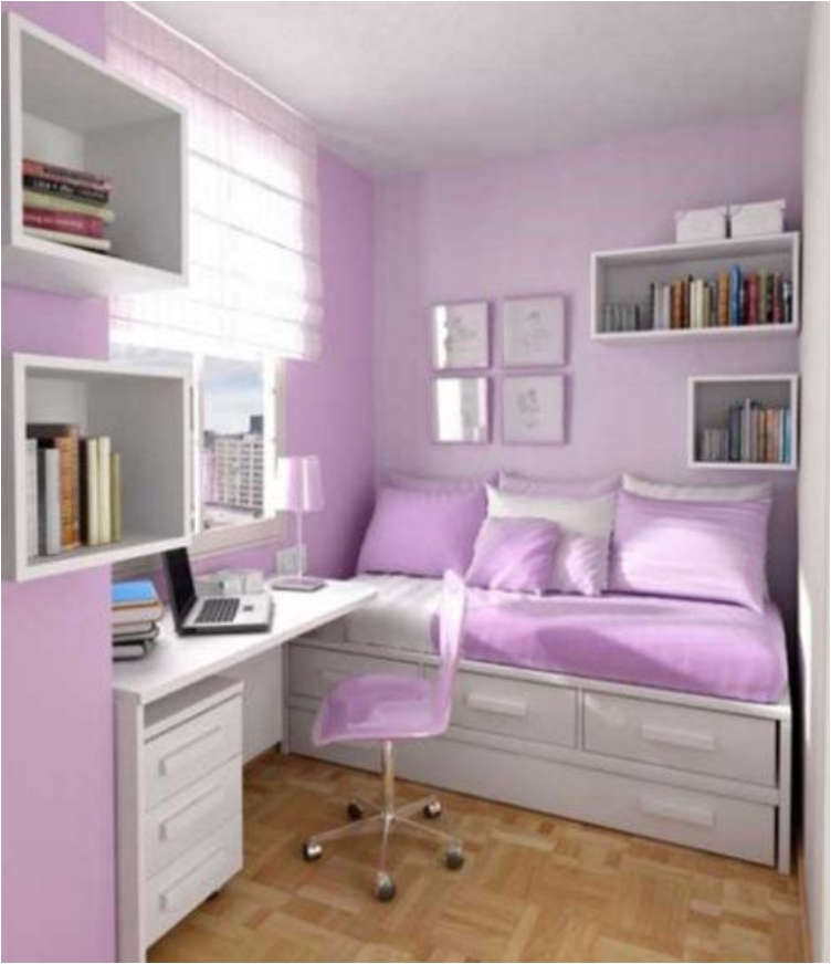 Compact, But Cozy, Purple And White Bedroom