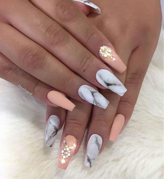 Peach And Black Nail Designs
