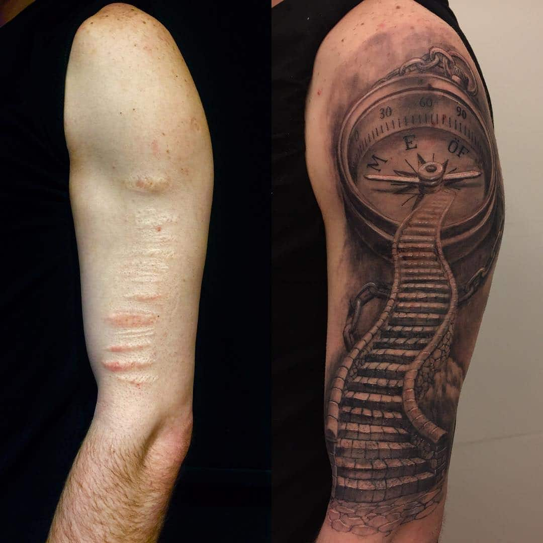 35 beautiful tattoos to cover scars for Covering scars with tattoo before and after