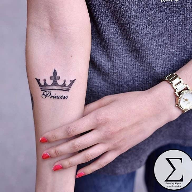 27 crown tattoos making you feel like kings and queens ritely rh ritely com princess crown tattoo design princess crown tattoo on wrist