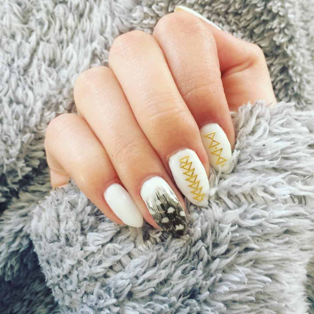 25 Beautiful Feather Nail Designs To Blow You Away