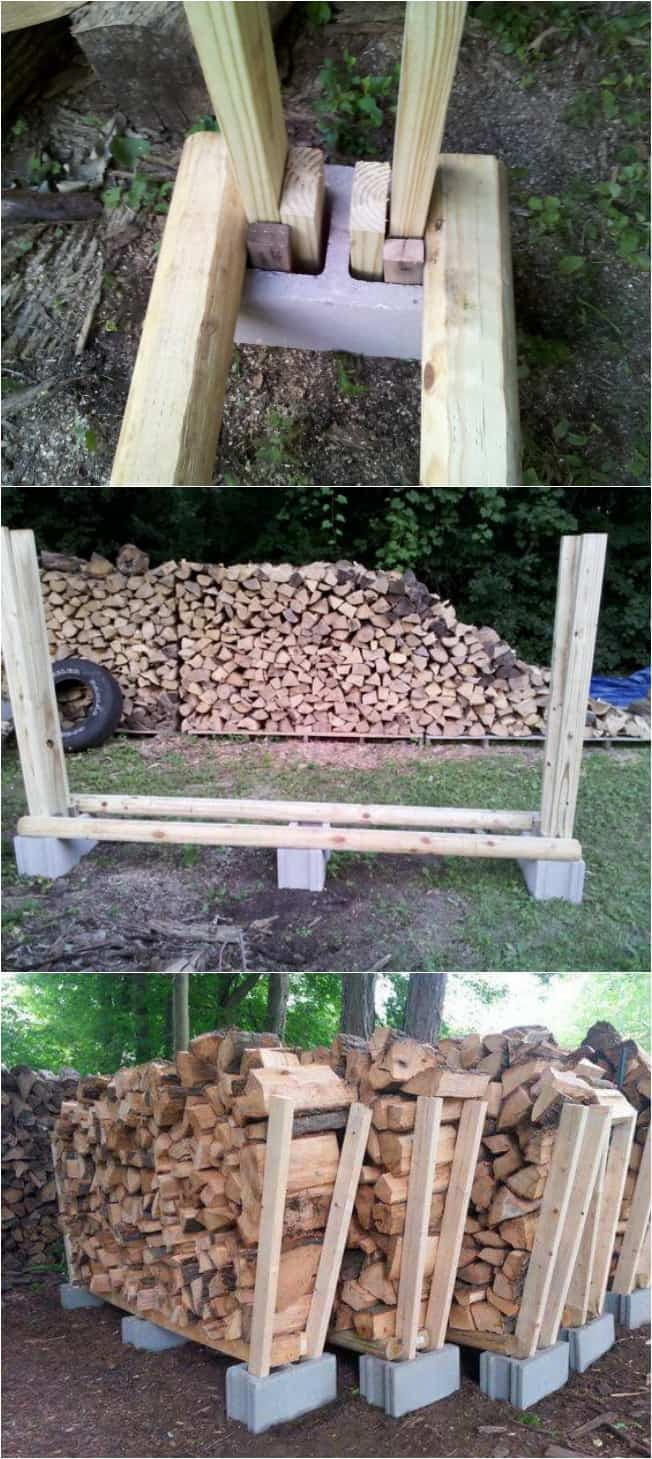 19 lovely diy log holders for inside and outside your home for Log storage ideas