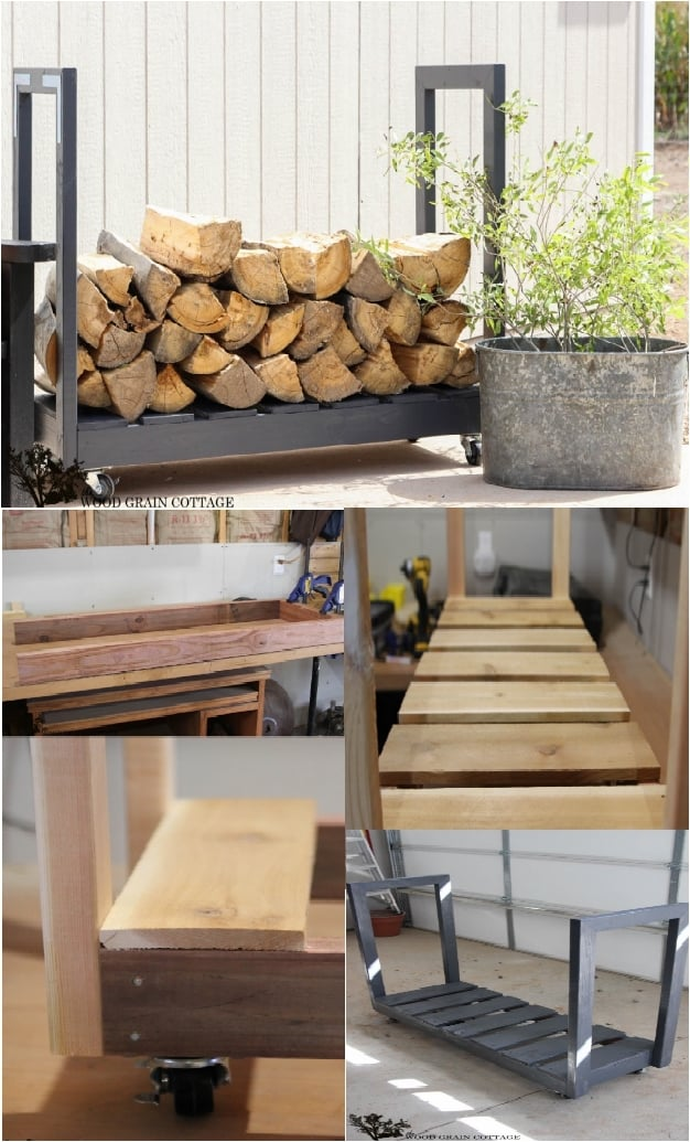 19 Lovely DIY Log Holders For Inside And Outside Your Home
