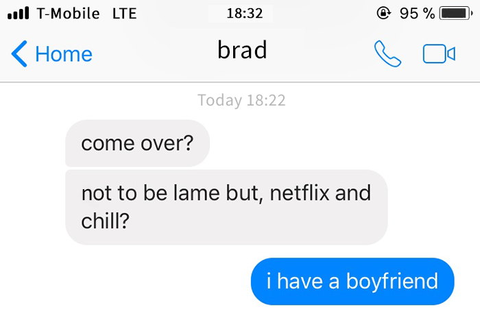 clueless guy texts netflix and chill to a girl being nice to him at