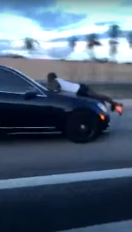 VIDEO: Man Clings to the Hood of a Car Speeding 70mph Down Florida Highway While Talking on Phone