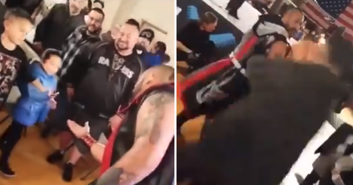 Adults Fan Mugs a Wrestler After Spitting on Little Girl in Front of the Crowd