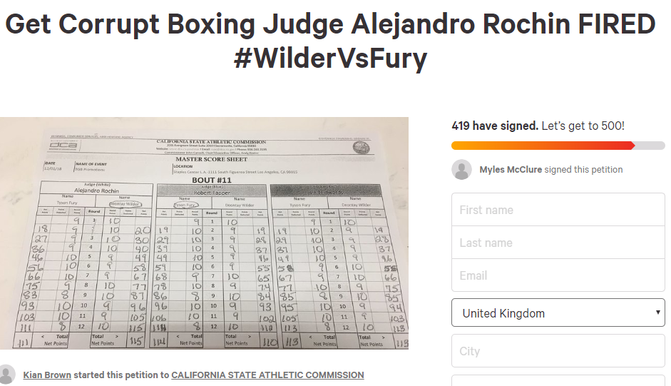 There's A Petition To Fire One Of The Deontay Wilder vs. Tyson Fury Judges