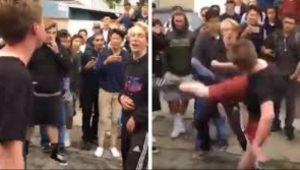 WATCH: Cocky Teen Gets Knocked Out With Roundhouse Kick In Front Of Entire School